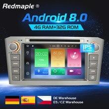 4G Оперативная память Android 8,0 автомобилей Радио gps Мультимедиа Стерео DVD проигрыватель для Toyota Avensis T25 2003-2008 Авто Аудио WI-FI видео навигации