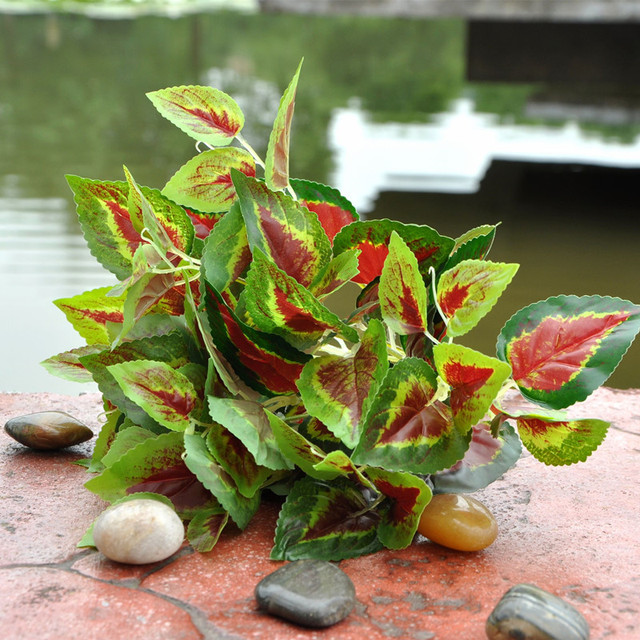 30cm Length Leaf plant Red Fake perilla leaf decorative indoor ...
