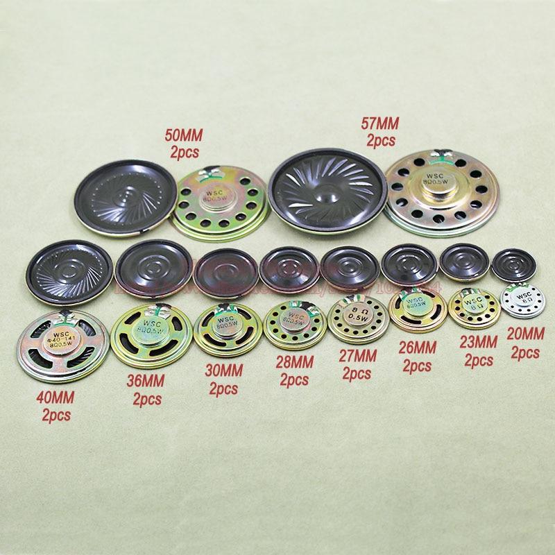 (20pcs/lot) 0.5W 0.5Watt 8 Ohms 8R 8Ohm Mini Round Speaker Doorbell Speaker 20MM To 57MM Assortment Kits 10Values Each 2pcs