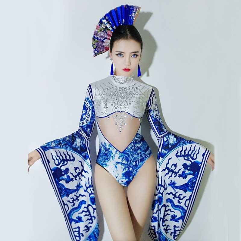Club Sequin Jazz De Danse Sexy De Danse Moderne Costume Strass Salopette Trompette manchette À Manches Longues Body Chanteur Danseur Costume
