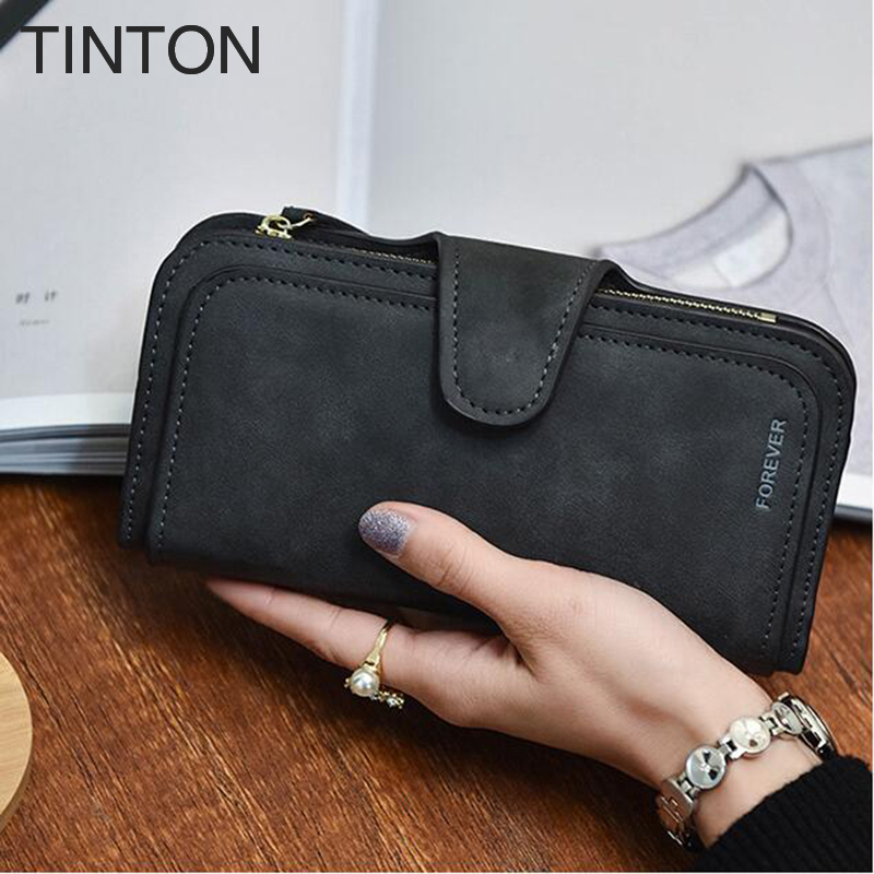TINTON 2018 new fashion womens solid color purse PU retro style simple personalized clutch card holder coin purse card bit
