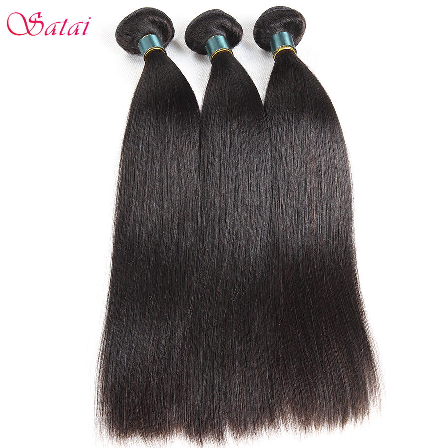 SATAI Straight Human Hair 3 Bundles Deal Malaysian Hair Weave Bundles - Cabello humano (negro)