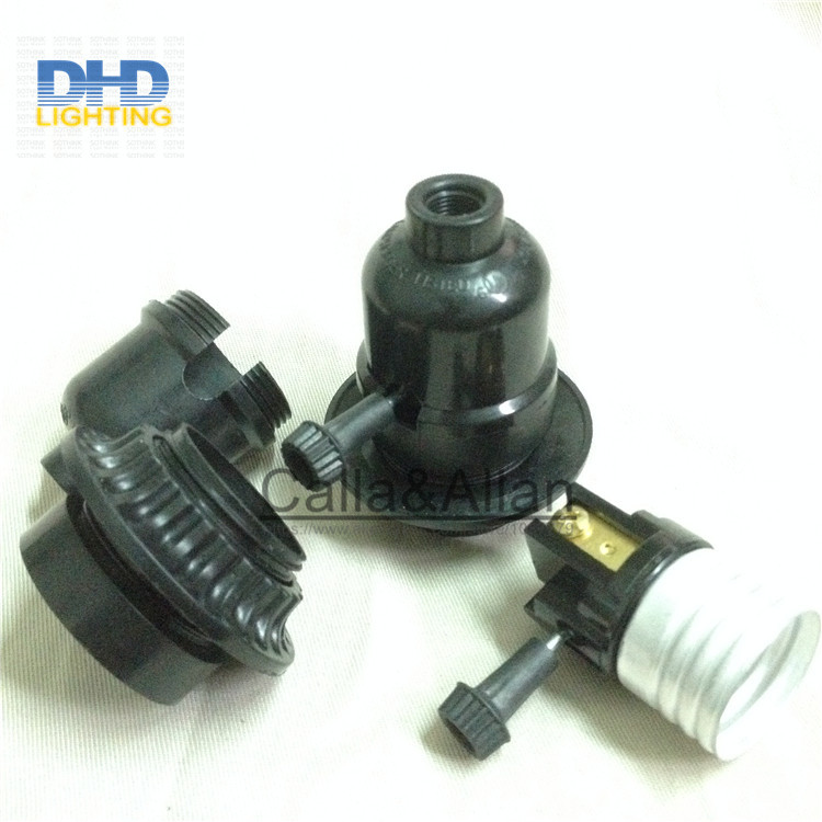 Image 5 - 50units/set black bakelite light sockets with chain switch or key switch E27 lamp holders black plastic lighting sockets-in Lamp Bases from Lights & Lighting