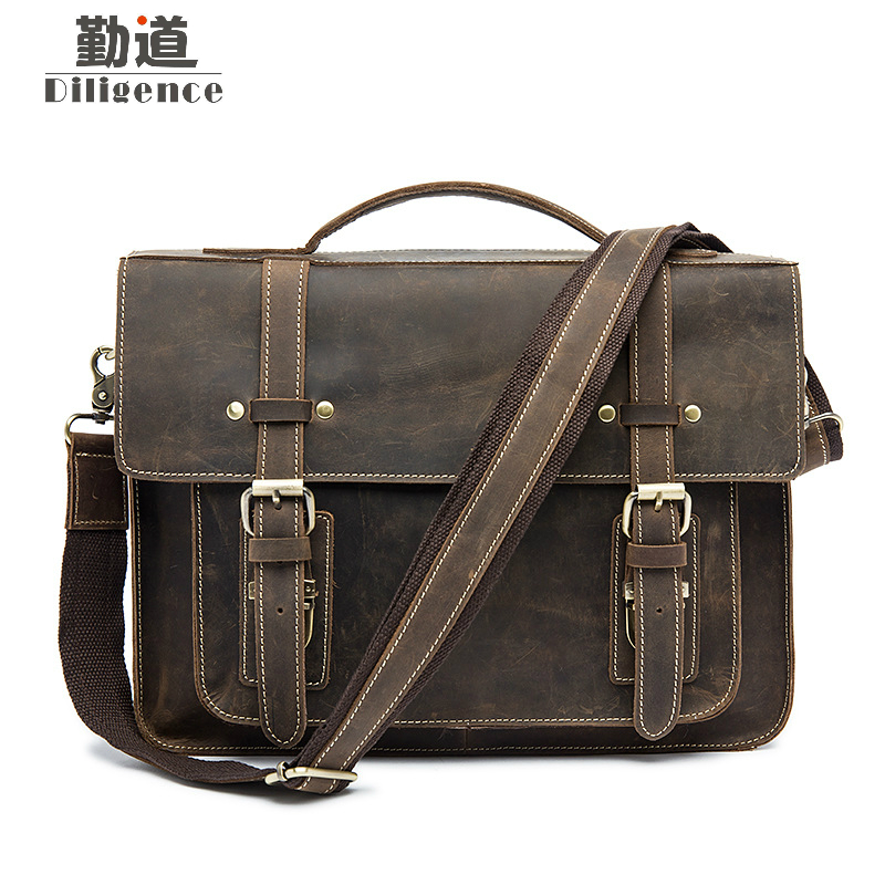 Crazy Horse Mens Briefcases Genuine Leather Man Laptop Messenger Bags Vintage Male Business Shoulder Crossbody Bag