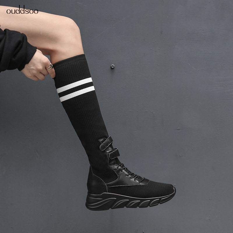 Sock Boots Women Shoes Summer White Black Mid Calf Boots Flat Platform Breathable Fashion Shoes Flying Woven Casual Ladies Boots women creepers shoes 2015 summer breathable white gauze hollow platform shoes women fashion sandals x525 50