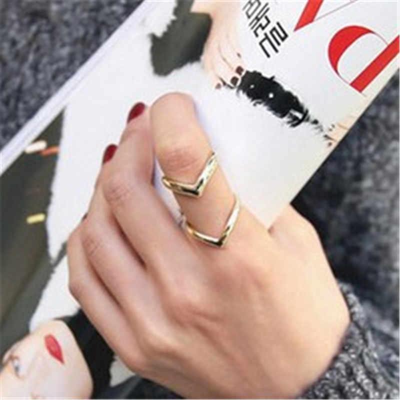 Очаровательные Модные женские кольца золото серебро в два ряда V кольца для женщин Простые геометрические сплав регулируемые кольца индийские ювелирные изделия