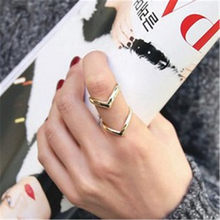 Charm Fashion Women Rings Gold Silver Double Lines V Rings For Women Simple Geometric alloy Adjustable Rings Indian Jewelry(China)