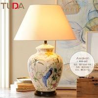 51X70 см Керамика настольная лампа Спальня исследование Гостиная настольная лампа синий и белый фарфор Американский декоративные настольные