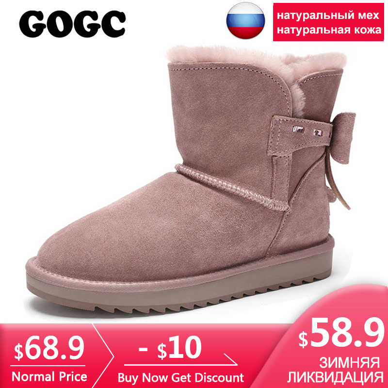 GOGC Winter Boots Women with Bow Plus Size 100% Genuine Leather Wool Winter  Boots with fe2448b124f0