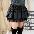 Girl Autumn Clothing New Pattern A Leather Half-body Skirt Short Kids Clothing PU Mesh Black