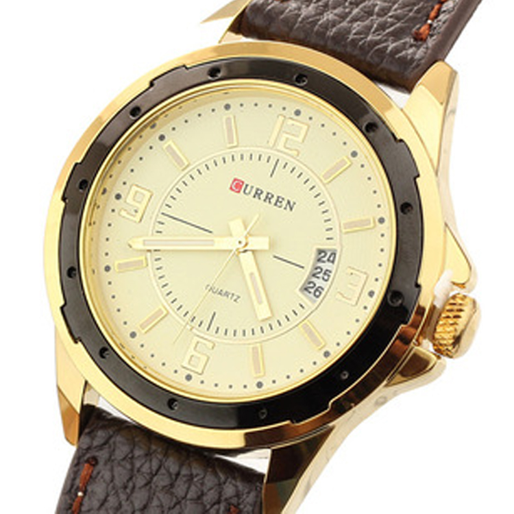 CURREN 8124 new fashion casual quartz watch men large dial waterproof chronograph releather wrist watch relojes free shipping