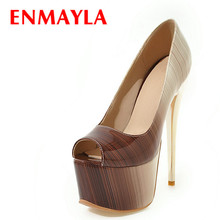 ENMAYLA Peep Toe Mixed Colors Pumps Women High Heels Shoes Platform Red Brown Party Wedding Plus Size 47