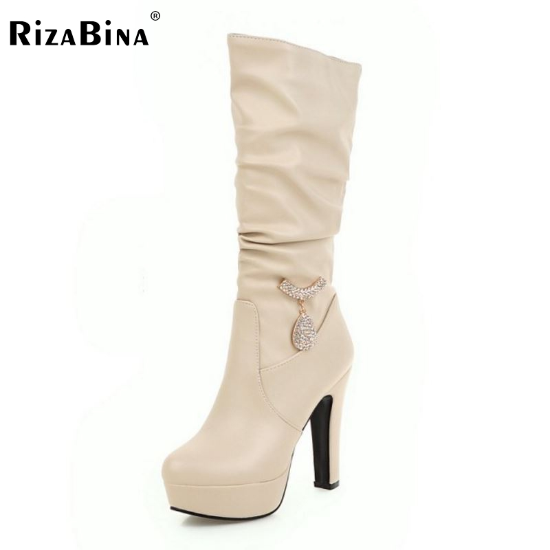 Woman Round Toe Knee Boots Fashion Woman Platform Thick High Heels Shoes Female Good Quality Botas Feminina Size 31-45 woman high heel over knee high boots woman fashion round toe high heels shoes brand suede leather botas woman size 34 43