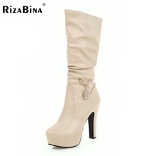Woman Round Toe Knee Boots Fashion Woman Platform Thick High Heels Shoes Female Good Quality Botas Feminina Size 31-45