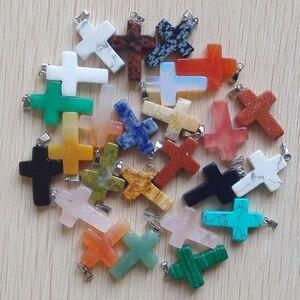 Image 3 - Atacado 50 pçs/lote pedra natural mista cor mista, encantos cruz colares fabricação de jóias
