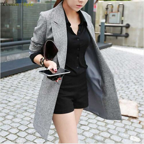 2018 Hot Selling Spring Women Casual Long Thin Blazers Coats Notched Collar Full Sleeve Single Button Fashion Cardigans Y99