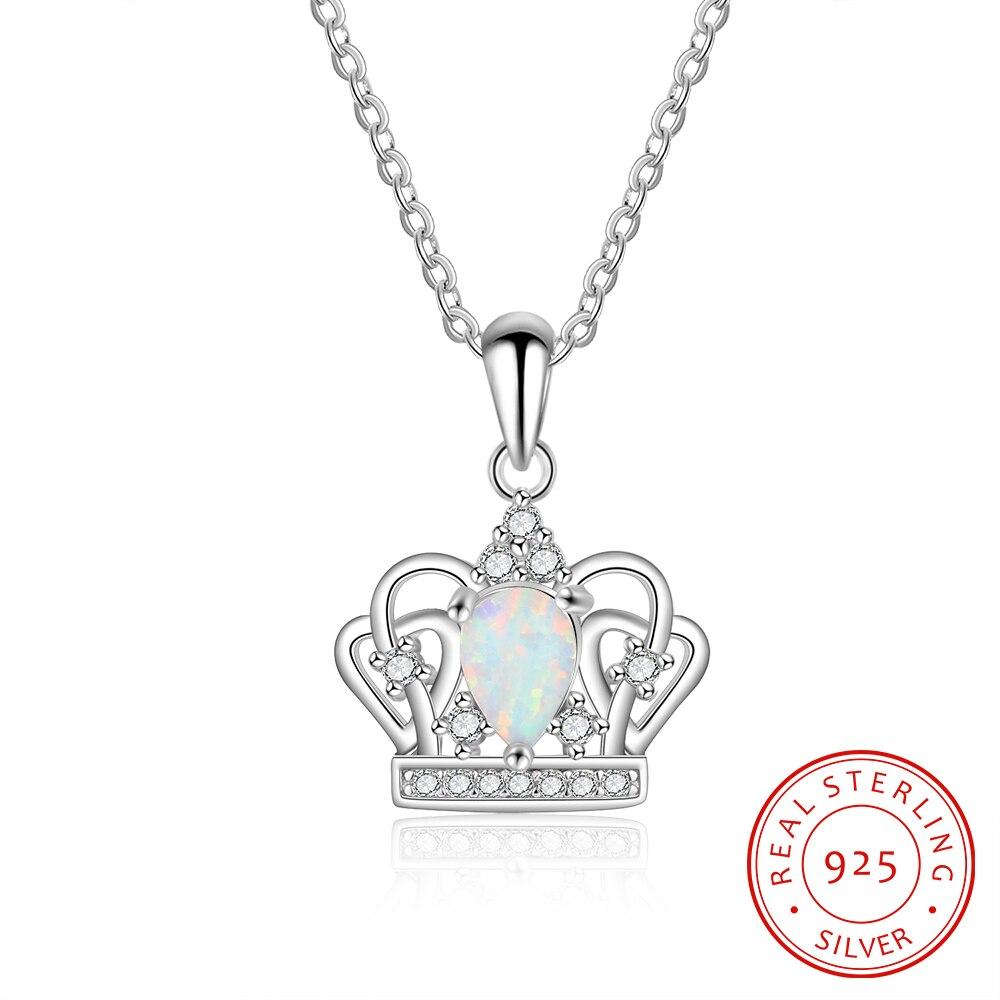 925 Sterling Silber Wasser Tropfen Form Opal Halsketten Für Frauen Krone Anhänger & Halsketten Frauen Schmuck Geschenk (ne103189)