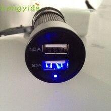 2017 Car Universal 12V 24V To 5V LED 2 USB Charger Adapter For Cell phone GPS janua13 Levert Dropship