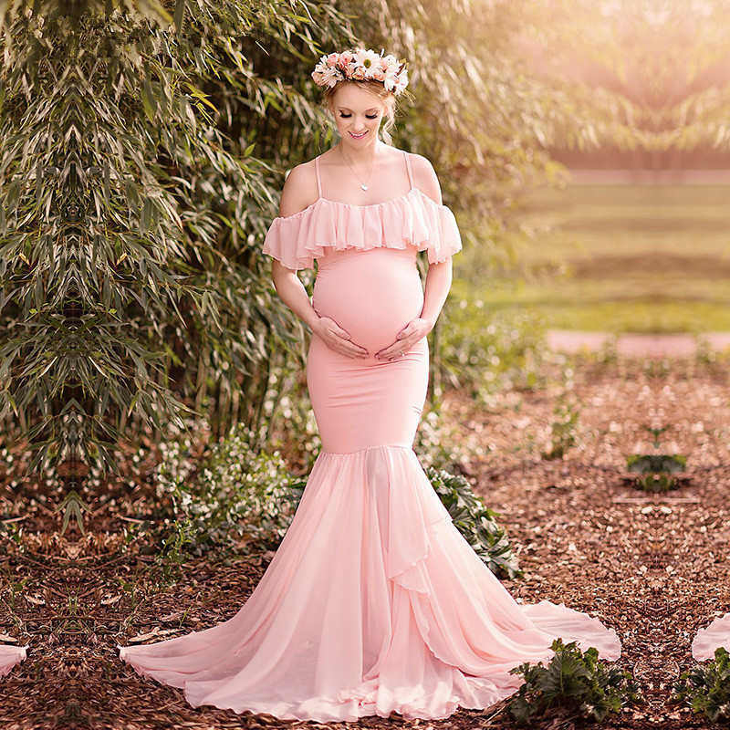 Maternity Photography Props Pregnancy Clothes Cotton Mermaid Trumpet Strapless Maternity Dress Shooting Photo Pregnant Dress