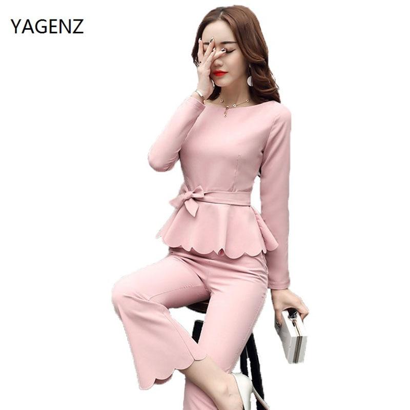 2017 Elegant New 2 Piece Set Women Suit Fashion Cozy Pantsuits Kit Office Suit Plus Size XS-XXL Lotus side Fine Suit YAGENZ A01