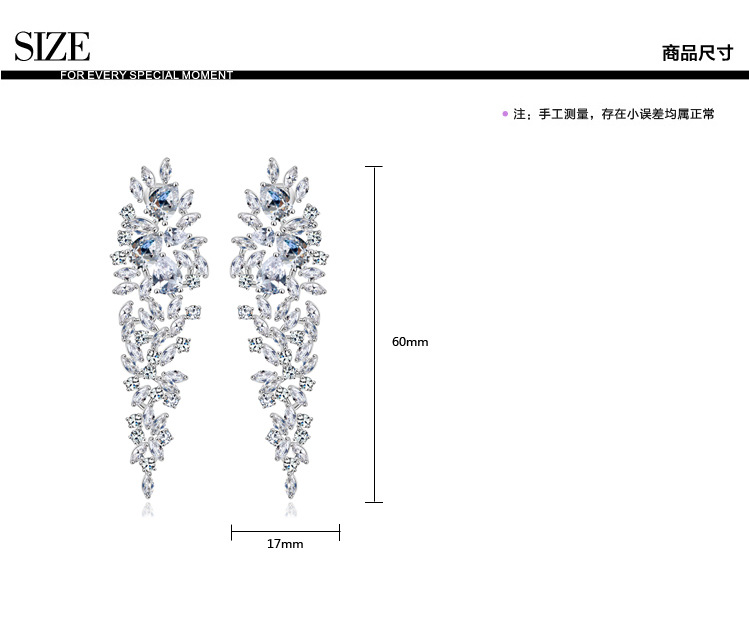 Brocade AAA zircon gold earrings luxury bride dinner European earrings in Drop Earrings from Jewelry Accessories