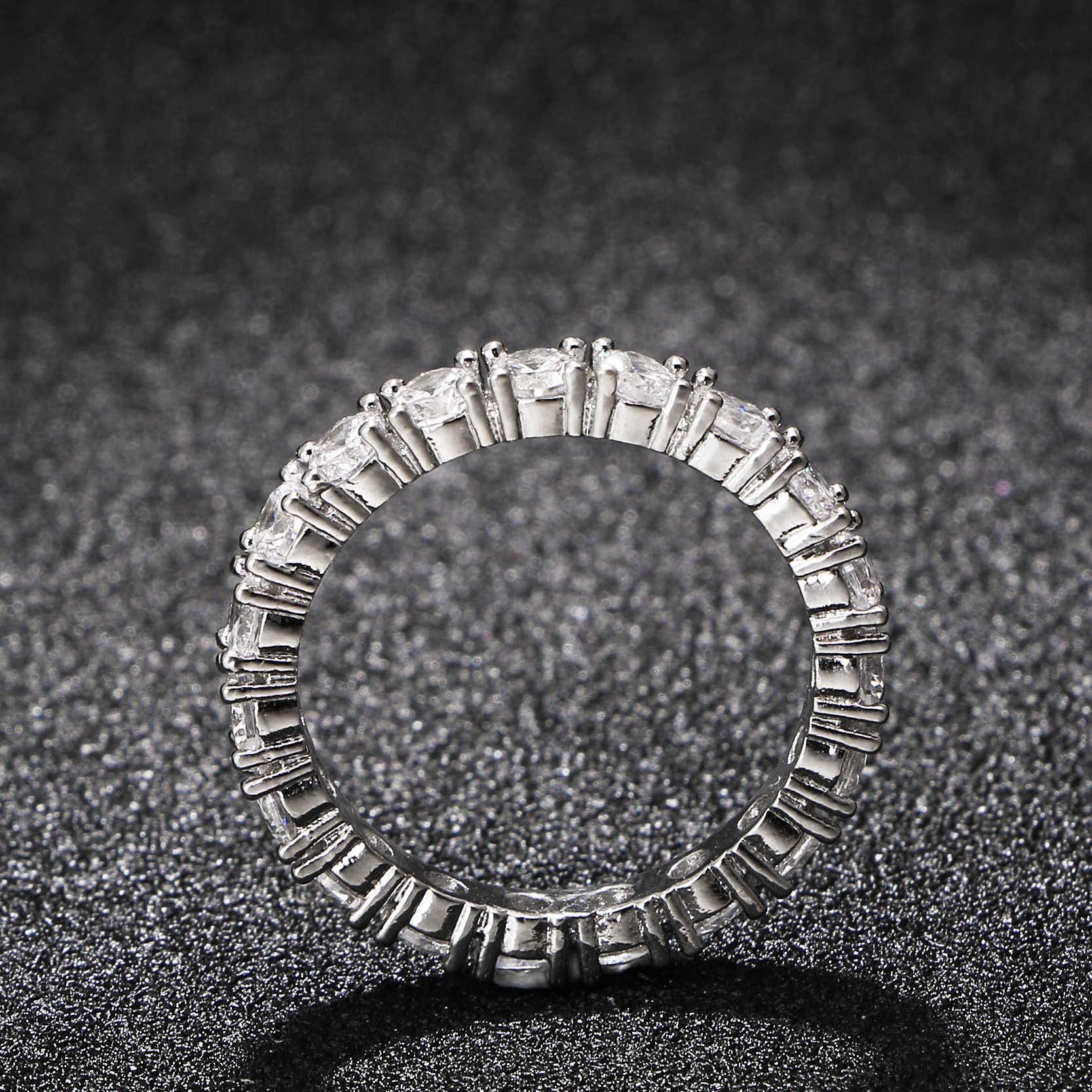 2017 gioielli di marca di lusso intarsio di colore bianco zirconi cubici anello a forma unica per le donne dimensioni di fidanzamento di nozze