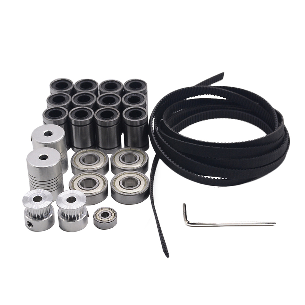 22pcs/lot movement kit for 3d printer reprap prusa i3 include GT2 belt pulley,LM8UU,608zz,624zz and coupler free shipping 3d printer reprap prusa i3 movement kit gt2 belt pulley 608zz bearing lm8uu 624zz bearing