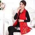 Воротник стойка тан костюм кнопки пластины жидкости вышивка национальной тенденции женской средней длины хлопка жилет китайском стиле вышитые
