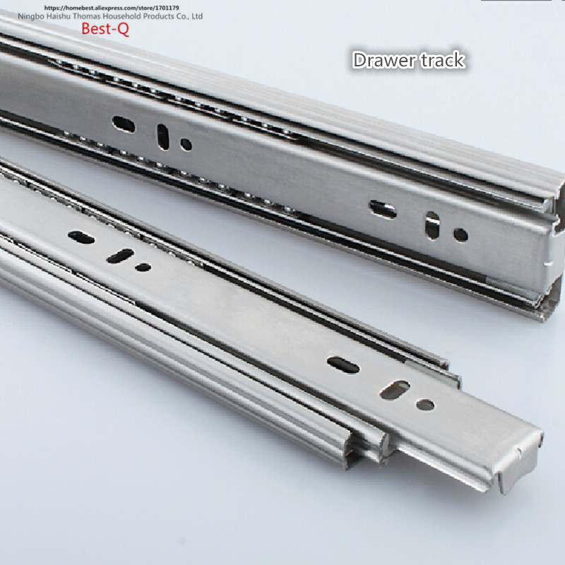 Free shipping Drawer track, drawer slide, three rail drawer, guide rail, slide rail, furniture hardware fittings, slipway keyboard drawer slide rail slide chute underpinning guide pulley white mute two rail track