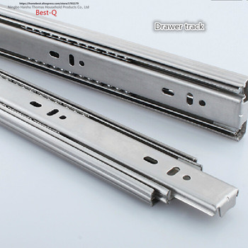Free shipping Drawer track, drawer slide, three rail drawer, guide rail, slide rail, furniture hardware fittings, slipway free shipping muted slides furniture hardware 27mm rail computer desk slide keyboard drawer track ball lifting bottom bracket