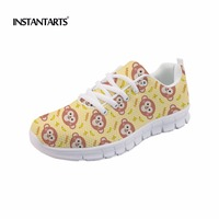 INSTANTARTS Women Casual Flat Shoes Cute Cartoon Animal Monkey Pattern Women's Air Mesh Sneakers Lightweight Breathable Flats