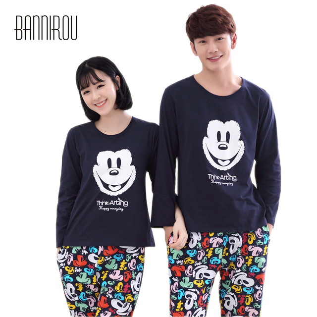 069fe44755 Couple Pyjama Set 100% Cotton Mickey Cartoon Full Soft His-and-her Matching  Home Clothing For Lover Man Woman Pajama Suit Spring