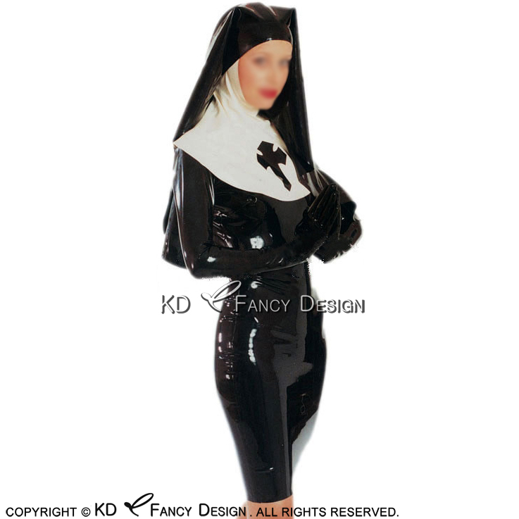 Black With White Sexy Pencil Latex Dress With Nun Habit Headgear Cross Front Zip Back Rubber Uniform Bodycon Playsuit LYQ 0113