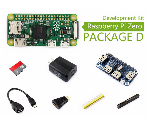 Raspberry Pi Zero V1.3 Development Kit Type D, Micro SD Card, Power Adapter, USB HUB, and Basic Components icon sd card power walking l1