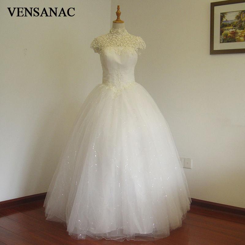 VENSANAC 2017 Bezmaksas piegāde Jaunās līnijas mežģīņu augstās apkakles īsām piedurknēm balta satīna līgavas kāzu kleita Kāzu kleita 30211