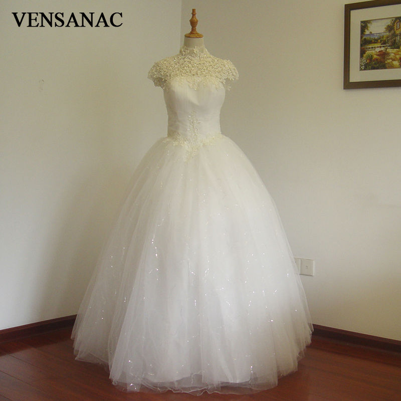 VENSANAC 2017 Δωρεάν αποστολή Νέα γραμμή A Lace Υψηλή κολάρο κοντό μανίκι Λευκό σατέν νυφικό νυφικό φόρεμα νυφικό 30211