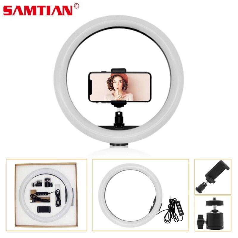 SAMTIAN 12inch 160PCS LED Selfie Ring Light 3 speed Stepless Lighting Dimmable 2700K 5500K For Photography Studio Annular Lamp