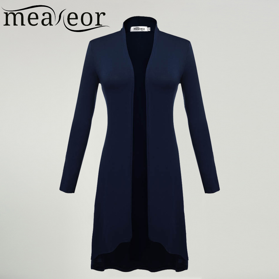 Meaneor Cardigans Women Ms Windbreaker 2018 Autumn Summer Long Sleeve Cardigan Long Joker Plus size 3XL Sweaters Coat Outwear