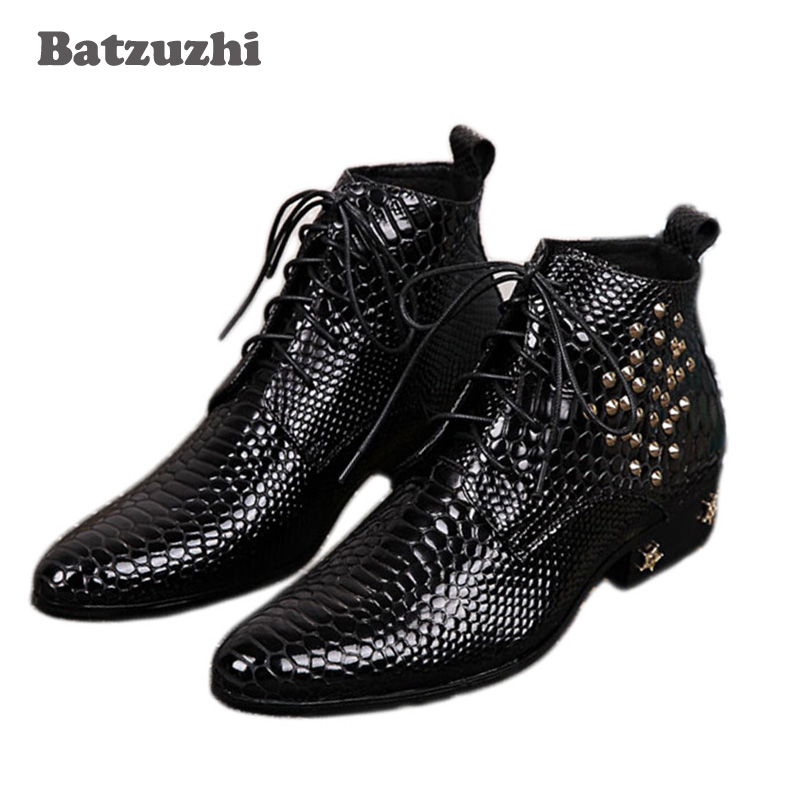Batzuzhi Top Fashion Black Mans Ankle Boots with stars /Rivet Increased Height  Men Boots, Super Star Boots Man, Big size 46Batzuzhi Top Fashion Black Mans Ankle Boots with stars /Rivet Increased Height  Men Boots, Super Star Boots Man, Big size 46