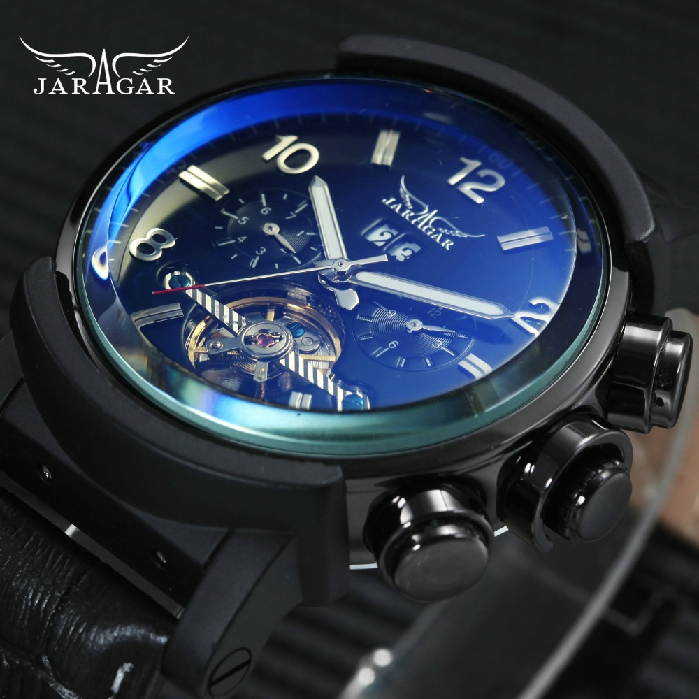 JARAGAR Military Sports Tourbillon Mechanical Watch Men Blue Mirror Case 2 Sub-dial Calendar Top Brand Luxury Skeleton WatchesJARAGAR Military Sports Tourbillon Mechanical Watch Men Blue Mirror Case 2 Sub-dial Calendar Top Brand Luxury Skeleton Watches
