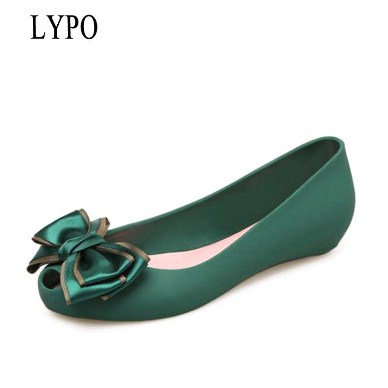 LYPO Women Jelly sandals 2018 summer shallow mouth Korean Cute Bow Flat Shoes Lady Open Toe rubber plastic sandals lypo women sandals 2018 new flat bottom open toe bow candy color sandals casual crystal jelly shoes women breathable flat shoes