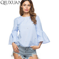 QIUXUAN Size S XL 2018 Summer Casual Tops Women Elegant Pearls Beading Fare Sleeve Shirt O