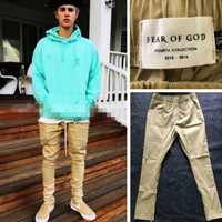 Fashion Side Zipper Jeans Men Slim Fear Of God Yeezy Boost Casual Pants Justin Bieber Trousers