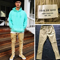 2016 Newest Hip Hop Men FEAR OF GOD Fog Justin Bieber Style Skinny Slim Long Stripe Zippers Pants Jogger In Black Khaki