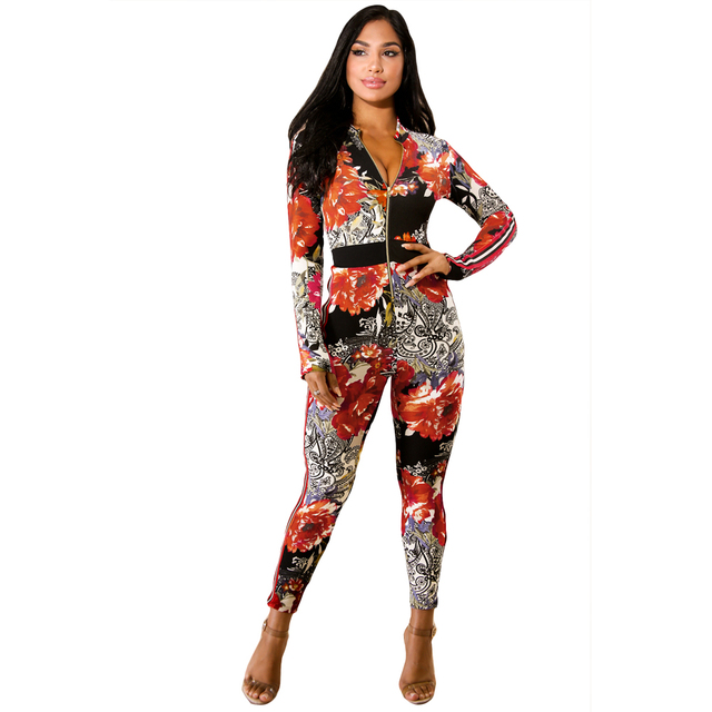 751901138c94 Sexy Dashiki Jumpsuit Women One Piece Outfit African Printed Bodycon  Combinaison Femme Front Zipper Long Pants