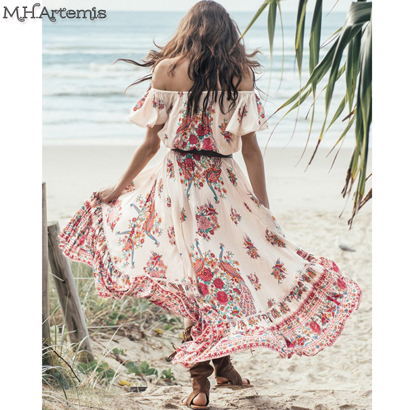 2017 Robe Mhartemis Women Boho Chic Ethnic Folk Floral Print Maxi Dress Hi Lo Off Shoulder Elastic Waist Fashion Vestidos In Dresses From Womens
