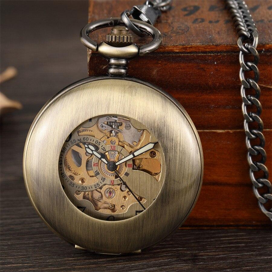 Relógio de Presente para Mulheres dos Homens de Vento Pendente do Vintage Antigo Suave Mecânica Pocket Cadeia Fob Algarismos Arábicos Mão Relógio Esqueleto Ver