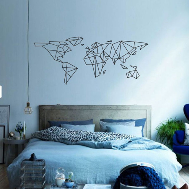Geometric world map wall sticker map of the world outline wall decal geometric world map wall sticker map of the world outline wall decal home decoraion living room gumiabroncs Choice Image
