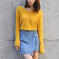 Winter V-neck Flared Sleeve Pullovers Sweater Women Sexy Loose Thickened Plus Size Knitted Undershirt Back Cross Lacing