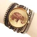 100 unids/lote Popular Al Por Mayor de Joyería de Diamantes Reloj de Cuarzo Mujeres se Visten de Moda Patrón Elefante Pulseras Relojes de 5 Colores